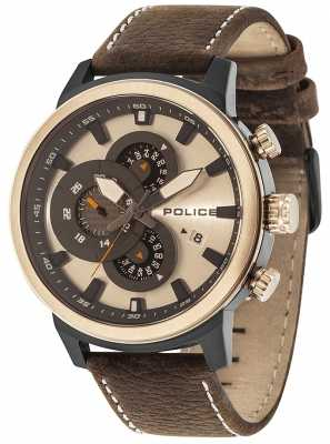 Police Mens Explorer Multi-function Brown Leather Camel Dial 15037JSBBR/04