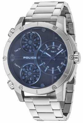 Police Mens Rattlesnake Blue Dial Stainless Steel 14699JS/02M