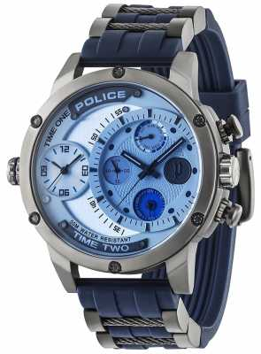 Police Mens adder multifunctionele date zilveren wijzerplaat rubberen band 14536JSU/04P