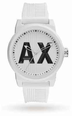 Armani Exchange Mens Matte Textured White Silicone Logo Print AX1450