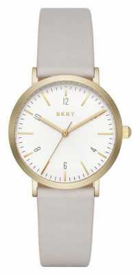 DKNY Womans Minetta Gold Toned Grey Leather NY2507
