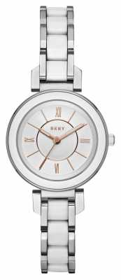 DKNY Womans Ellington Stainless Steel White Ceramic NY2588