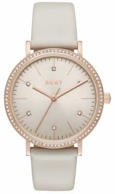 DKNY Womans Minetta Rose Gold Grey Leather NY2609