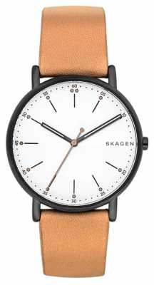Skagen Mens Signatur Light Brown Leather Strap White Dial SKW6352