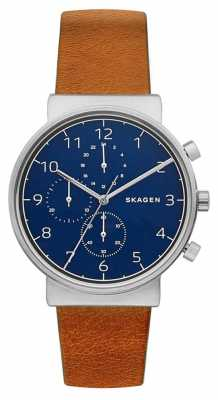 Skagen Mens Ancher Tan Leather Strap Blue Dial SKW6358