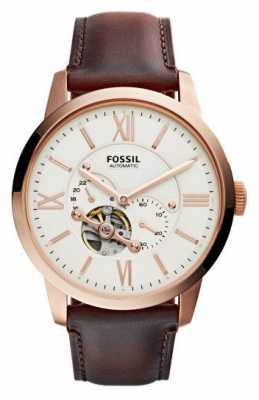 Fossil Mens Townsman Automatic Beige Dial Brown Leather ME3105