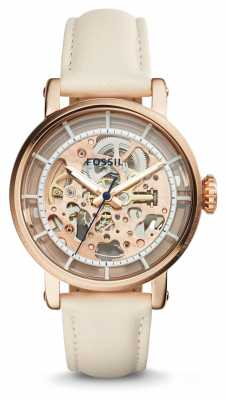 Fossil Womans Original Boyfriend Automatic Skeleton Dial Cream ME3126