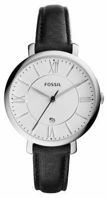 Fossil Womans Jacqueline Silver Dial Black Leather ES3972