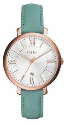 Fossil Womans Jacqueline White Dial Teal Leather ES4149