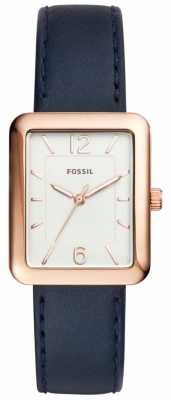 Fossil Womans Atwater Blue Leather Strap Square Dial ES4158