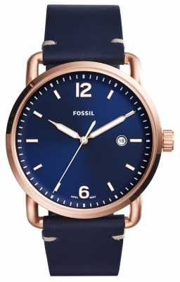 Fossil Mens Commuter Rose Gold Tone Blue Leather FS5274
