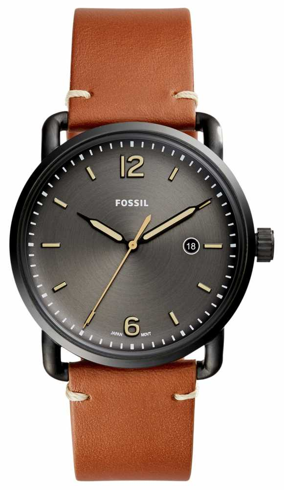 fossil mens commuter brown leather grey watch fs5276 fossil fs5276