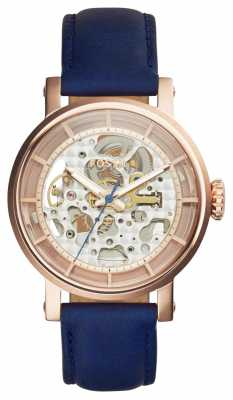 Fossil Womans Original Boyfriend Automatic Skeleton Dial Blue ME3086