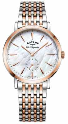 Rotary Womans Swiss Made Windsor Two Tone Mother Of Pearl LB90191/41