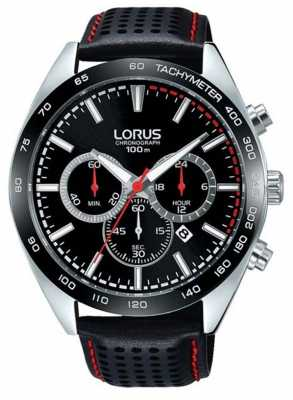 Lorus Mens Black Leather Chronograph RT307GX9