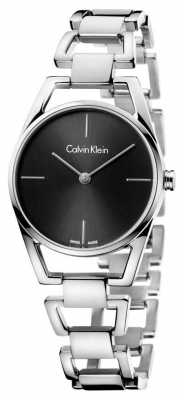 Calvin Klein Womans Dainty Steel Black Dial K7L23141