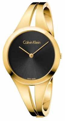 Calvin Klein Womans Addict Gold Toned Bangle Black Dial K7W2M511