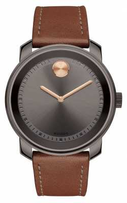 Movado Mens BOLD Brown Leather Strap 3600378