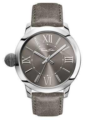 Thomas Sabo Mens Rebel With Karma Stainless Steel Grey Leather WA0294-273-210-46