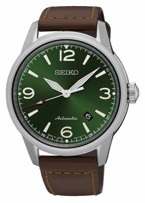 Seiko Mens Presage Automatic Green Dial Brown Leather Strap SRPB05J1