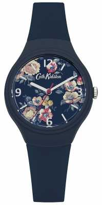 Cath Kidston Womans Navy Silicone Strap Floral Printed Dial CKL029U