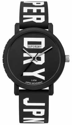 Superdry Mens Campus Fluro Block Silicone Watch Black SYG196BBW