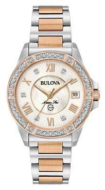 Bulova Womans Marine Star Diamond Two Tone Watch 98R234