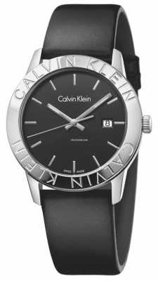 Calvin Klein Womans Steady Black Leather Black Dial K7Q211C1