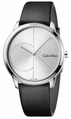 Calvin Klein Mens Minimal Black Leather Silver Watch K3M211CY