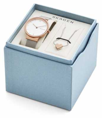 Skagen Womans Ancher Mesh Silver Rose Gold Necklace Gift Set SKW1086