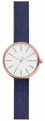 Skagen Womans Signatur Blue Leather Rose Gold SKW2592