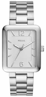 Fossil Womans Atwater Steel Square Silver Watch ES4157