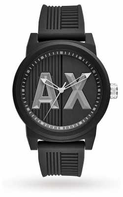 Armani Exchange Mens Matte Textured Grey Silicone Logo Print AX1451