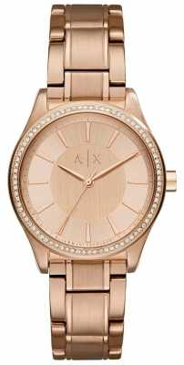 Armani Exchange Womans Steel Rose Gold Dress Watch AX5442