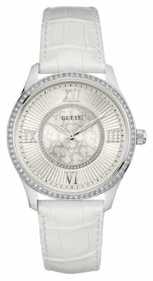 Guess Womans Broadway White Leather Strap W0768L4