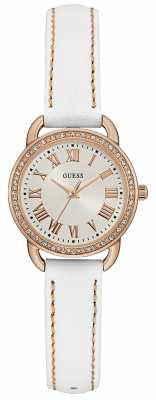 Guess Womens Fifth Avenue White Leather Strap White Dial W0959L3