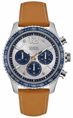 Guess Mens Fleet Chronograph Brown Leather Strap Silver Dial W0970G1