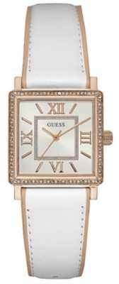 Guess Womens Highline White Leather Strap Silver Dial W0829L11