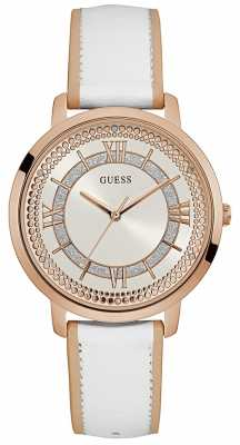 Guess Womens Montauk White Leather Strap Silver Dial W0934L1