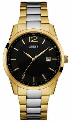 Guess Mens Perry Two Tone Bracelet Black Dial W0901G4