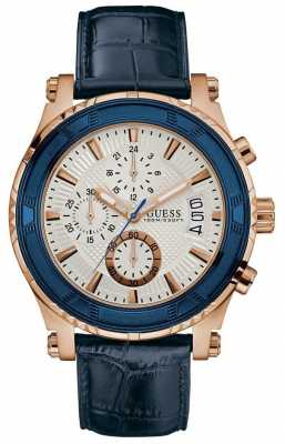 Guess Mens Pinnacle Chrongraph Blue Leather Strap Silver Dial W0673G6