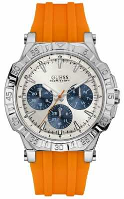 Guess Mens Turbo Orange Strap Silver Dial W0966G1