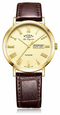 Rotary Mens Windsor Brown Leather Strap Gold Dial GS90156/09
