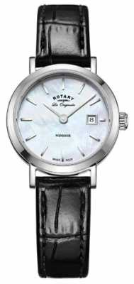 Rotary Womens Windsor Black Leather Strap Mother Of Pearl Dial LS90153/41