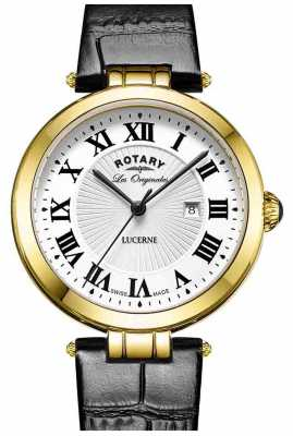 Rotary Womens Lucerne Black Leather Strap White Dial LS90198/01L