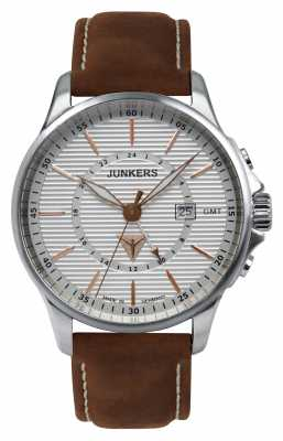 Junkers Mens Tante JU Brown Leather Strap Silver Dial 6842-4