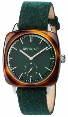 Briston Mens Clubmaster Vintage Green Fabric Strap Green Dial 17440.SA.TV.16.LFBG