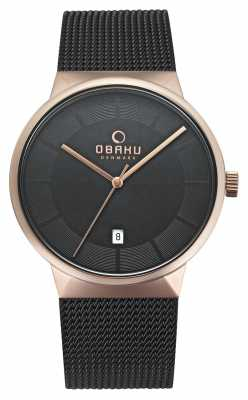 Obaku Mens ROSE GOLD V200GDVBMB