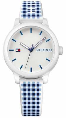 Tommy Hilfiger Womans Ashley Blue White Silicone Watch 1781777
