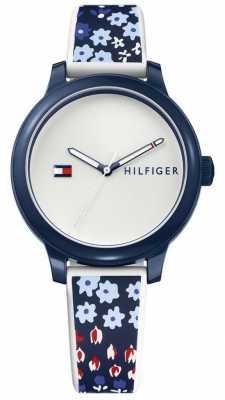 Tommy Hilfiger Womans Ashley Blue Floral Silicone Watch 1781778